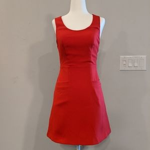 Express red cross low back dress with pockets